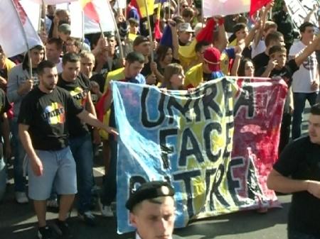 VIDEO. Marsul Unirii s-a incheiat fara incidente. Unionistii au votat o petitie
