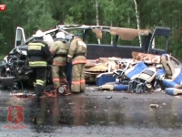 UNSPREZECE persoane au murit in urma unui accident rutier ce a avut loc in orasul Krasnoiarsk din Rusia. Imagini de la fata locului - VIDEO