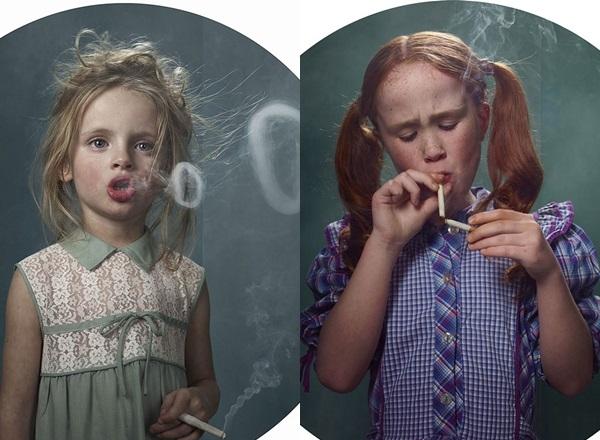 Copii fumatori. Proiect FOTO inedit despre influenta adultilor asupra celor mici