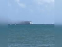 Incendiul, pe o nava de croaziera. Un furtun prin care trecea carburant s-a spart si a luat foc - VIDEO