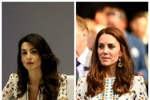 Amal s-a inspirat din garderoba lui Kate? Iata rochia purtata de cele doua