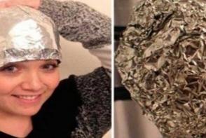 Si-a pus folie de aluminiu in cap si a uimit toti hair stilystii. Vezi ce masca fascinanta a inventat o tanara
