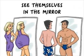 Femei vs barbati: cat de diferit se comporta in cele mai banale situatii. Ilustratiile care au cucerit internetul - FOTO