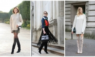 Cizmele peste genunchi reprezinta un must have in garderoba feminina! Iata cateva fotografii de street style care sa te inspire - FOTO