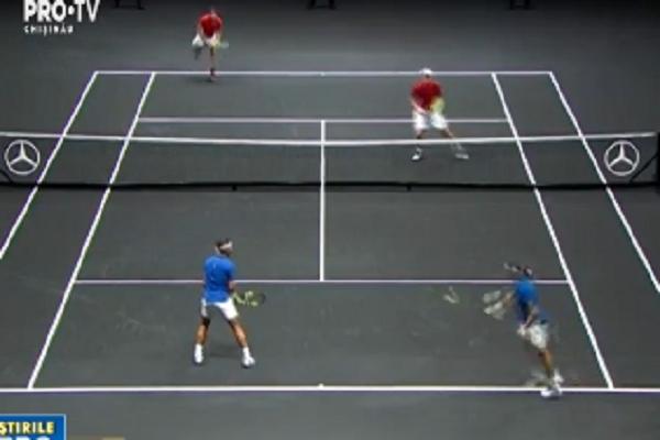 Rafael Nadal si Roger Federer au facut echipa la dublu in cadrul unui turneu de la  Praga. Acestia s-au impus in fata lui Sam Querrey si Jack Sock - VIDEO