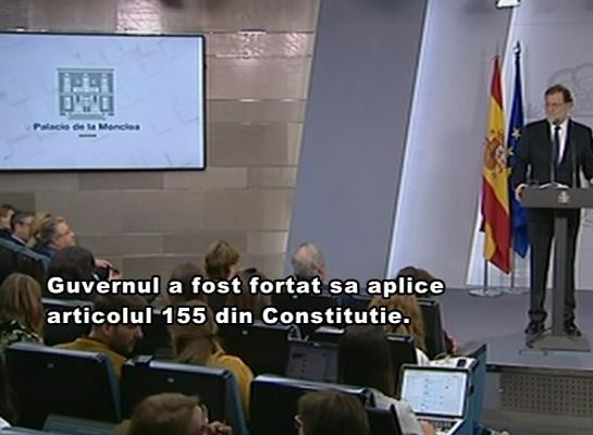 Guvernul de la Madrid isi va impune direct controlul asupra Cataloniei: guvernul catalan este suspendat, iar in urmatoarele sase luni ar urma sa aiba loc alegeri parlamentare regionale - VIDEO